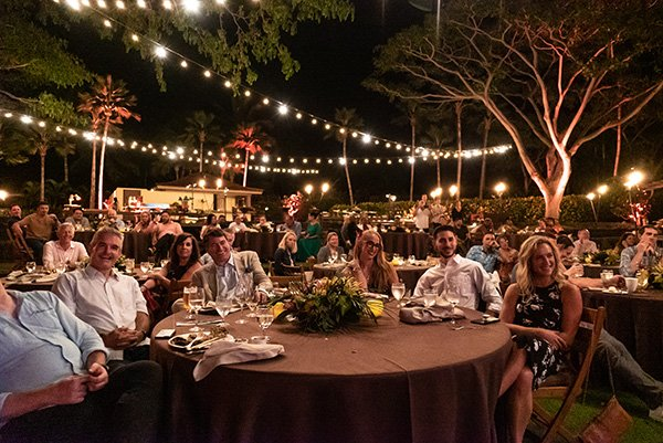 conference attendees at a dinner