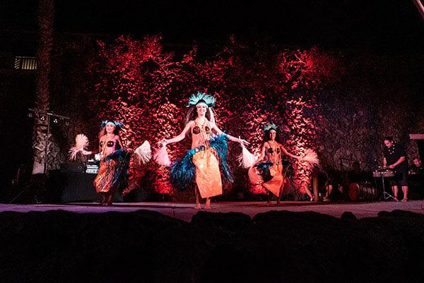 Hawaiian dancers on a stage