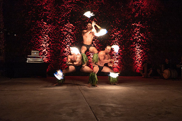 Hawaiian performers on a stage